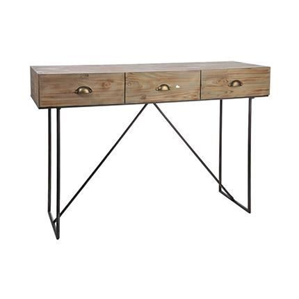 console 3 tiroirs en m tal et bois achat vente console console 3 tiroirs en m tal cdiscount. Black Bedroom Furniture Sets. Home Design Ideas