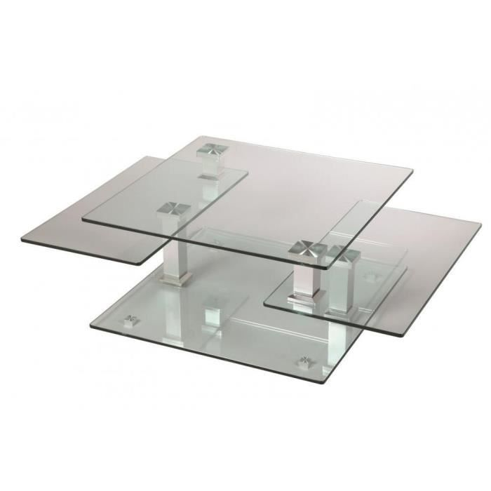 Table basse design cube en verre et pi tement acier chrom for Table basse en acier design