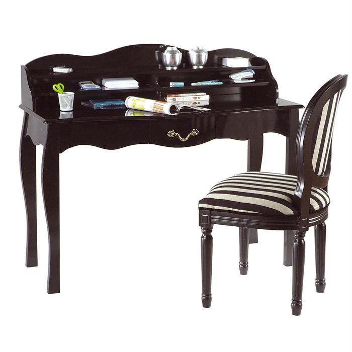bureau baroque noir 1 tiroir louisa achat vente bureau bureau noir 1 tiroir louisa cdiscount. Black Bedroom Furniture Sets. Home Design Ideas