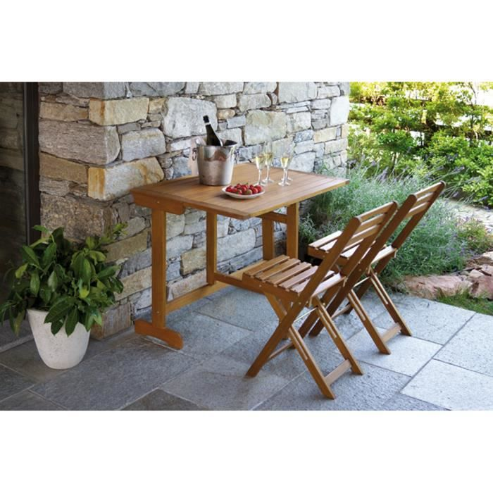 table et 2 chaises de jardin pliables en bois achat vente salon de jardin table et 2 chaises. Black Bedroom Furniture Sets. Home Design Ideas