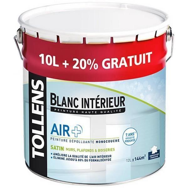 Peinture Tollens Dépolluante Air Satin Blanc 12l Aspect