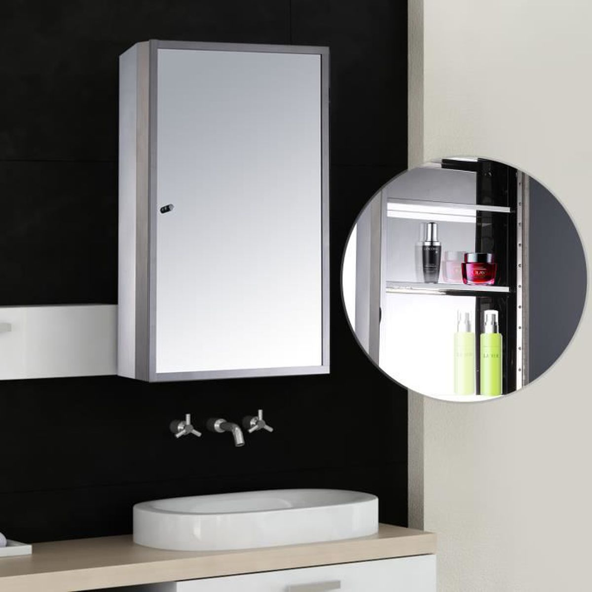 armoire de salle de bain toilette murale avec miroir porte 3 etages acier inox 50l x 13l x 40hcm. Black Bedroom Furniture Sets. Home Design Ideas