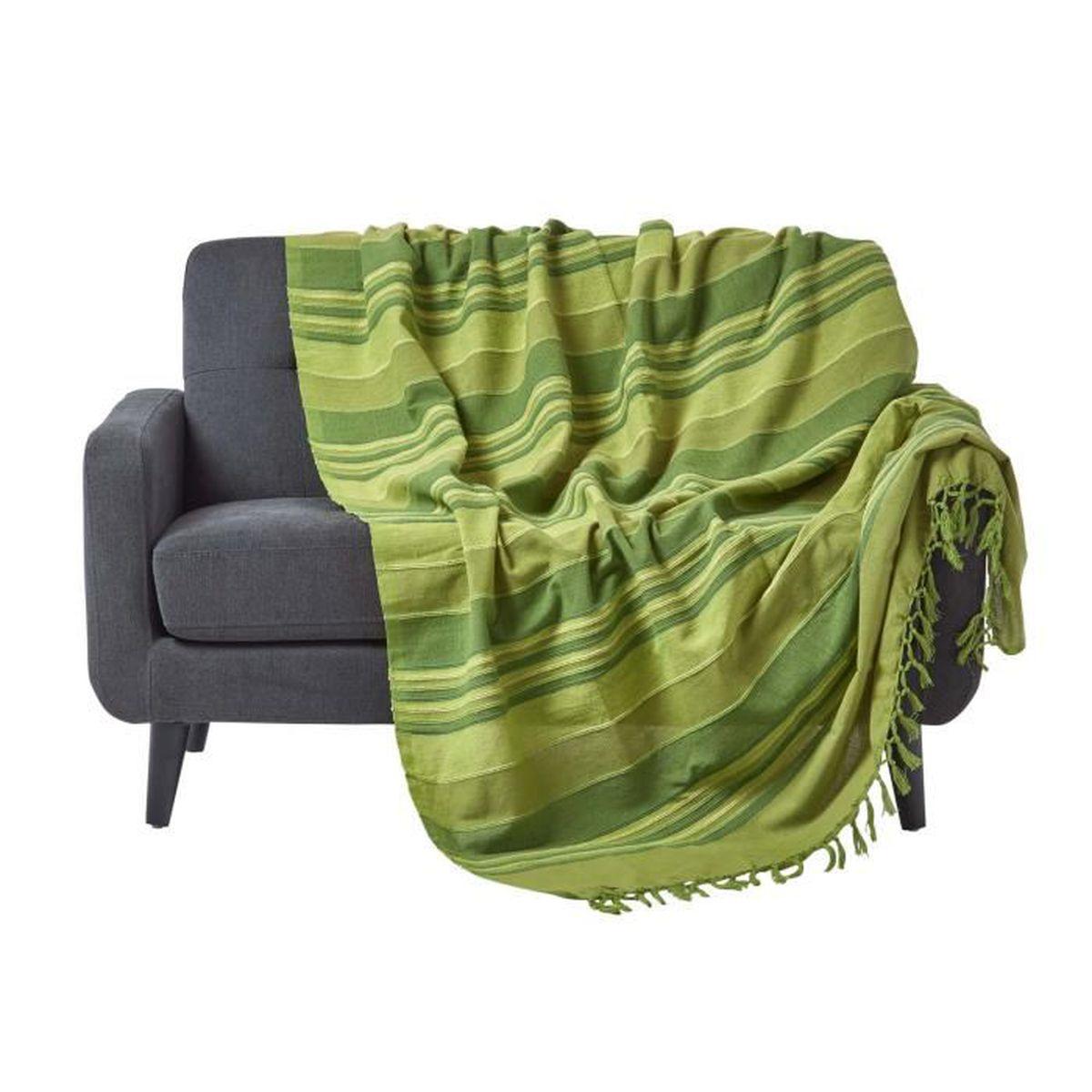 JETÉE DE LIT - BOUTIS Jeté de lit ou de canapé - Morocco rayures  - Vert