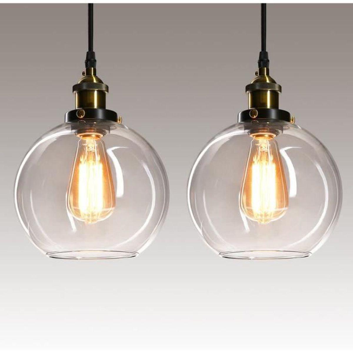 Lampe Salon Salle À Manger lot de 2 suspensions vintage luminaires style industriell
