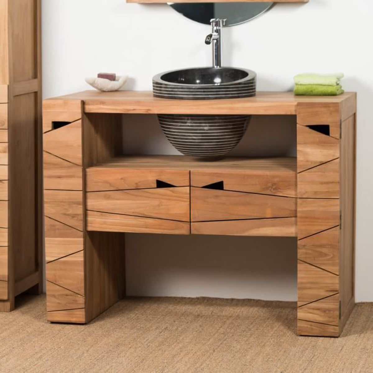 Habiller L Arrière D Un Meuble meuble de salle de bain en teck serenite 110cm + vasque noir