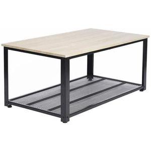 TABLE BASSE YORK Table basse - Décor chêne et noir - L 104 cm