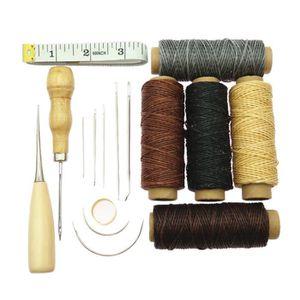 7pcs Aiguilles à Coudre Avec Cuir Ciré Thread Cord Forage alêne et dé à coudre Kit