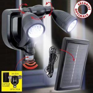 PROJECTEUR EXTÉRIEUR Double projecteur 38 LED non démontable - En PVC -