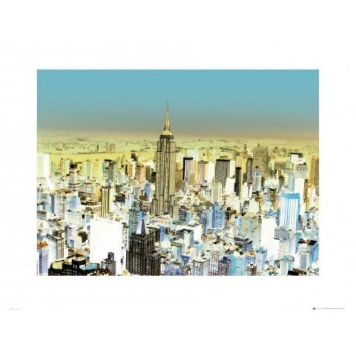 new york poster reproduction glowing 60 x 80 cm achat vente affiche cdiscount. Black Bedroom Furniture Sets. Home Design Ideas