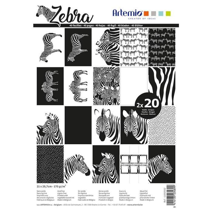 Bloc de 40 feuilles de papier scrapbooking A4 'Safari' d'Artemio
