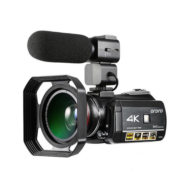 Caméra vidéo ORDRO AC3 4K Ultra HD 60FPS avec microphone externe Wifi