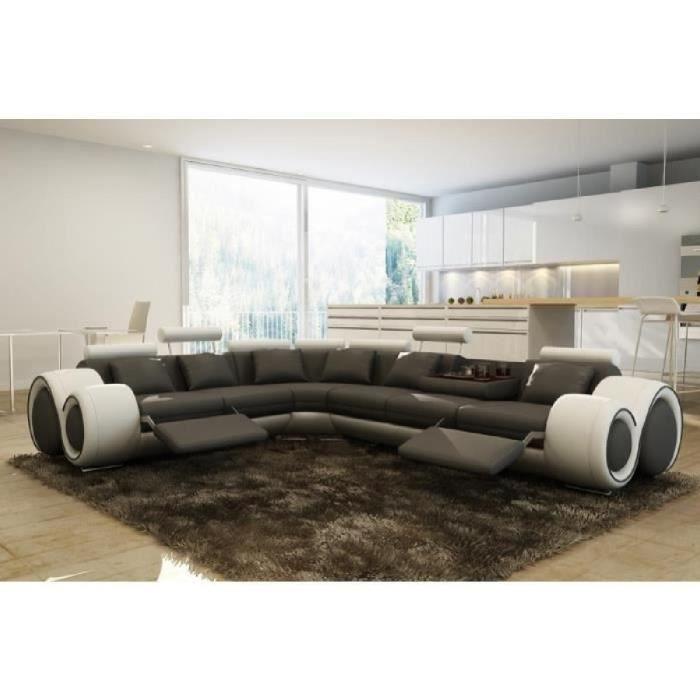 Canapé d'angle design relax gris et blanc OSLO (angle gauche)