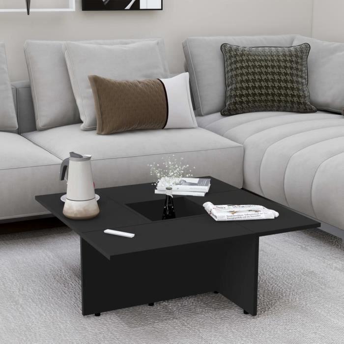 Table Basse De Salon 79x79cm NOIR (aggloméré) Design Carré