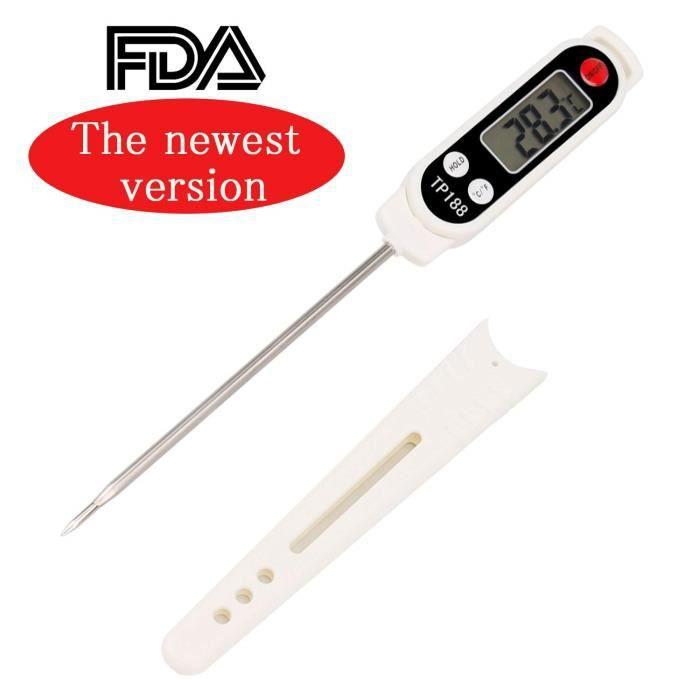 Thermometre de cuisine Digital Thermomètre Alimentaire Longue Sonde Instantanée 5 Secondes LCD Large Ecran Thermomètre pour Patisser