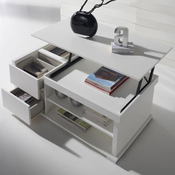 Table basse relevable design blanche GARONNE