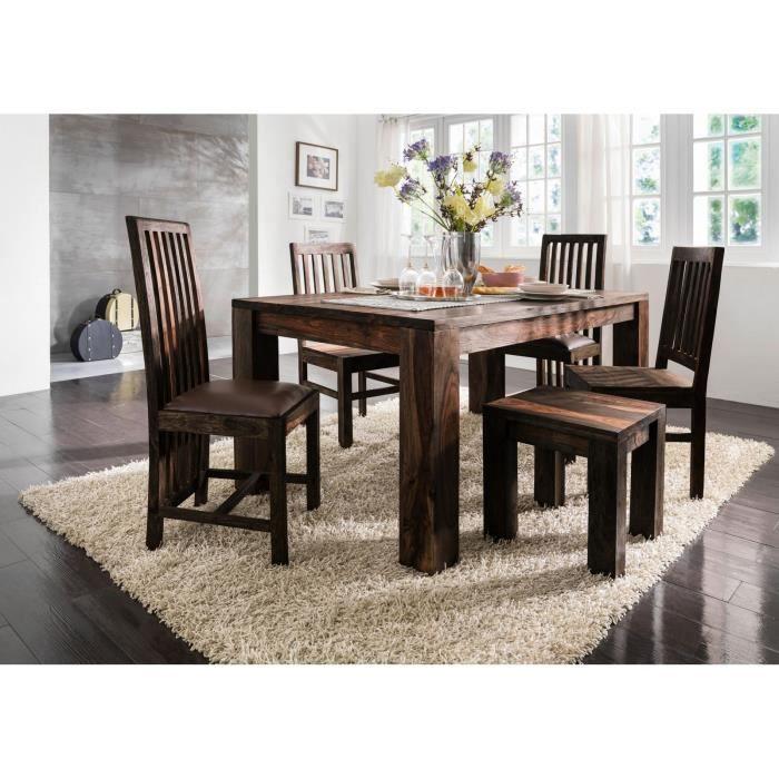 Table à manger 200x100cm - Bois massif de palissandre huilé (Strong grey) - PURE SHEESHAM #726