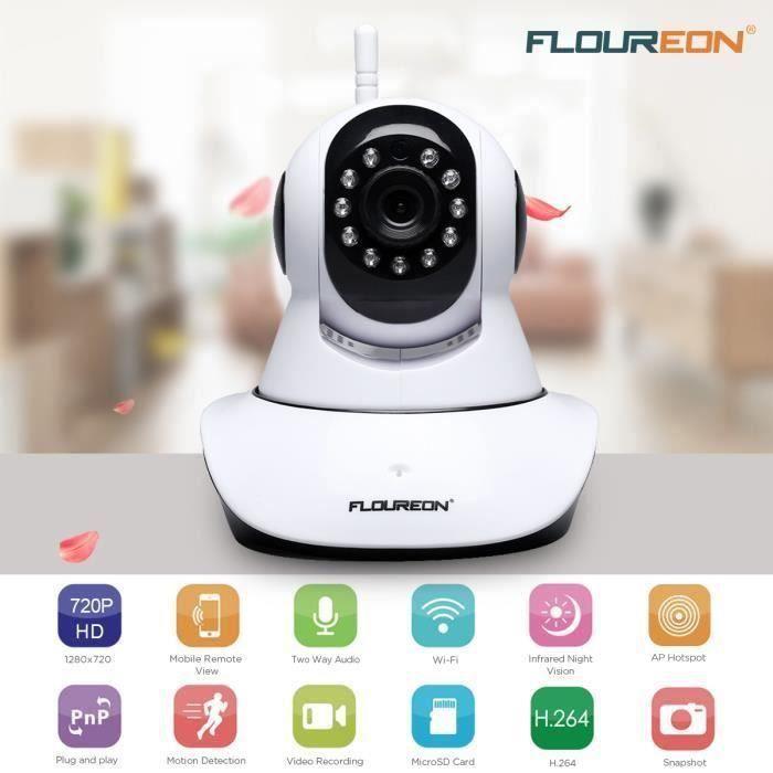 KIN Caméra IP FLOUREON 720P H.264 Wifi Sans Fil ONVIF TF 1.0 Megapixel Blanc et Noir