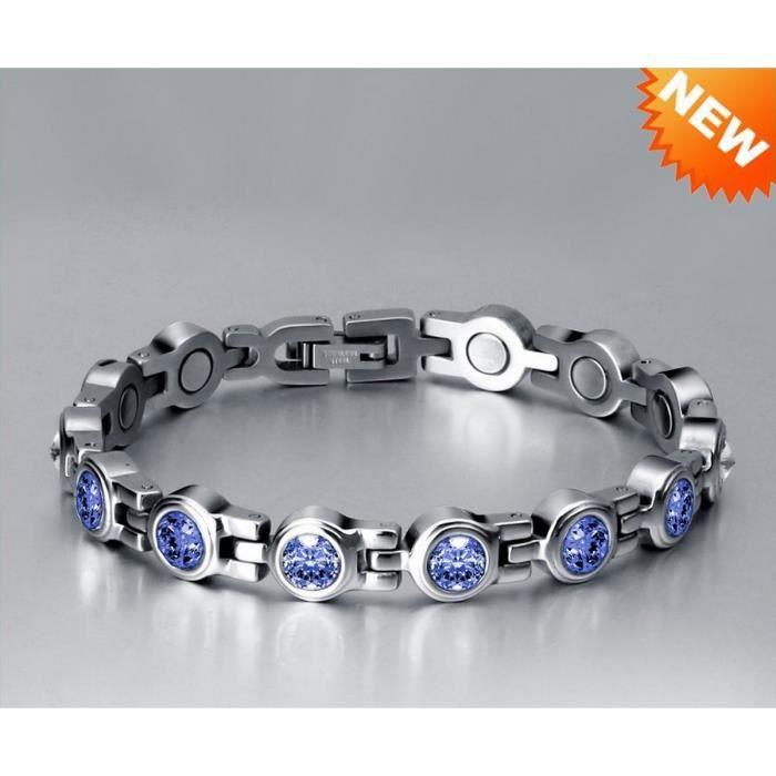 Très Joli Bracelet Magnétothérapie 4 aimants Féminin Cristaux Saphir Apatite Swarovski Elements