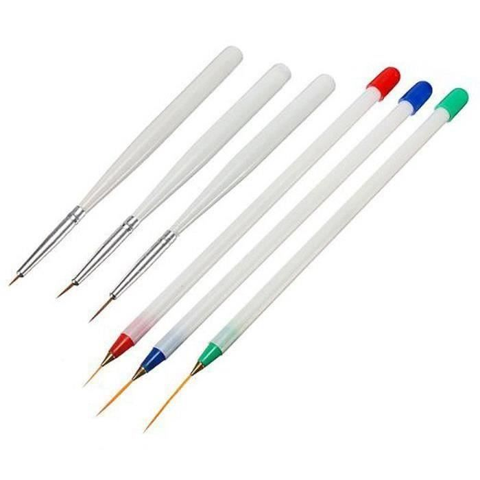 Vococal 6Pcs Acrylique Nail Art Pen Brush-3 Beaux Dessin-3 Liner Design Set Aw36186