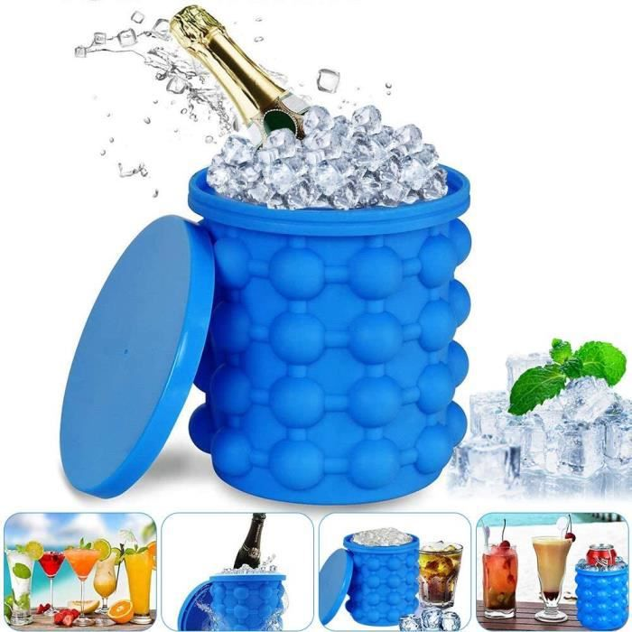 Ice Cube Bac à Glaçon Maker Silicone Bucket with Ice Cube Tray and Lid Space Saving Ice Cube Magique Glaçon