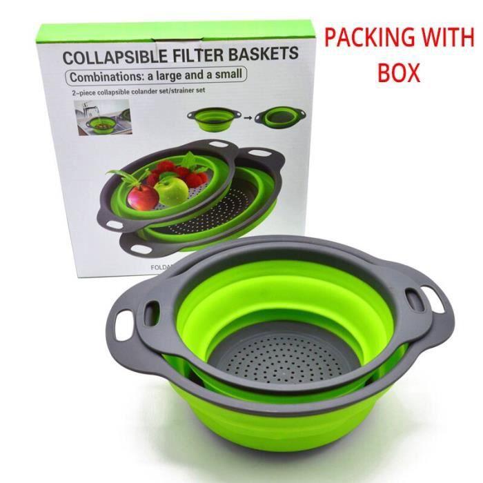 Passoire pliable en Silicone fruits et légumes  Ensemble 2 pièces-ensemble d'outils de cuisine, passoire pliable, pa*XE2444