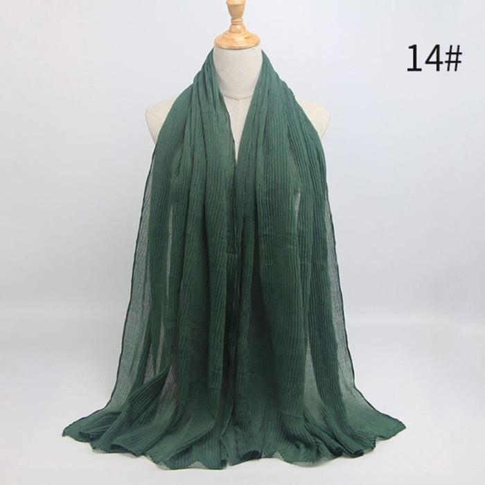 Foulard hijab en coton froissé, écharpe douce, écharpe chaude, écharpe chaude, châle, 25 couleurs, Design hiver, tendanc DY5177