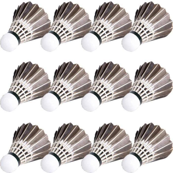 12 pcs set badminton volants noirs goose plume boules de badminton sports de plein air badminton accessoires durable badminton