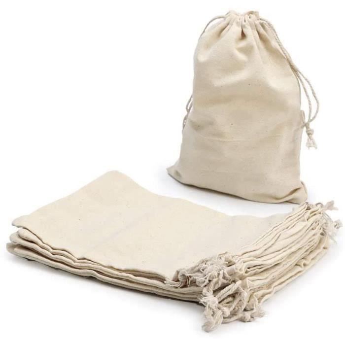 Petit Pochon Tissu,Sac Coton Sachet Tissu Pochon Bijoux Lin,Sacs en Tissu Sac Toile De Jute Pochette Tissu Cordon,Sac Cafe Toi[290]