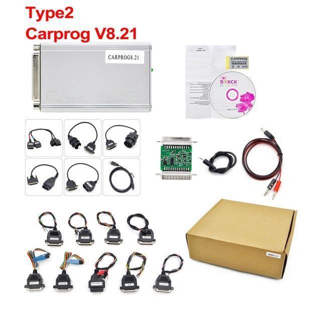 Carprog V8.21 V10.93 outil de Diagnostic de voiture, puce de réglage ECU, programmateur avec tous les 21 adap Type 2