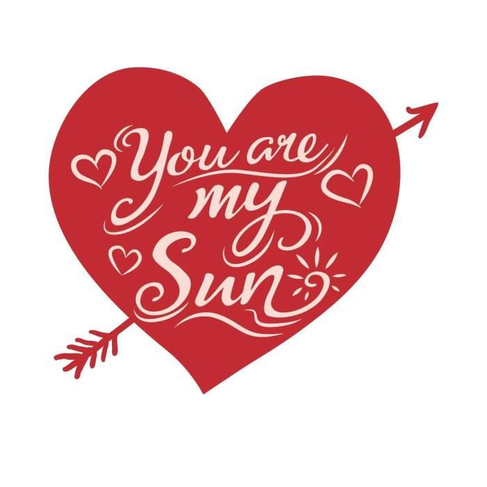 Stickers adhésif mural You are my sun heart - Rouge - 65x55cm
