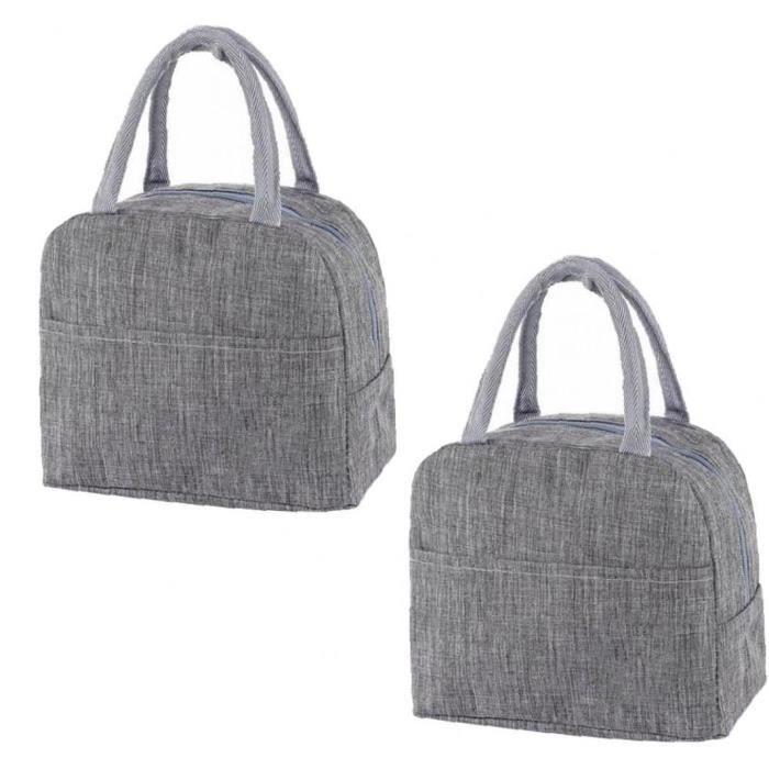 Sac à lunch isolé Boîte de pique-nique étanche Organisateur Cool Thermal pour hommes Femmes 2pcs gris