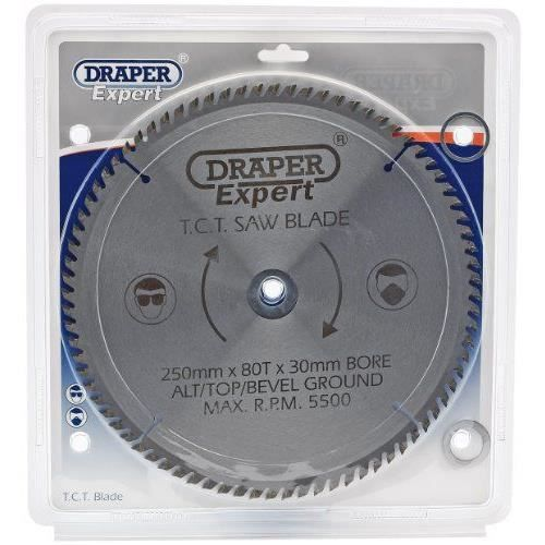 Draper 09489 Lame de scie TCT 80 dents 250 x 30 mm (Import Grande Bretagne)