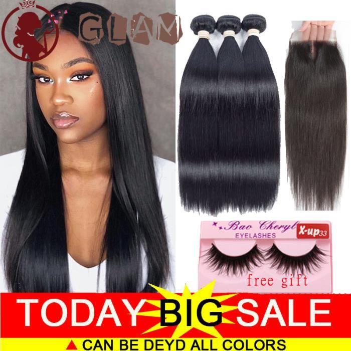 3 tissage bresilien avec closure ondule 7A cheveux naturel humain virgin hair 8.10.12-+8pouces