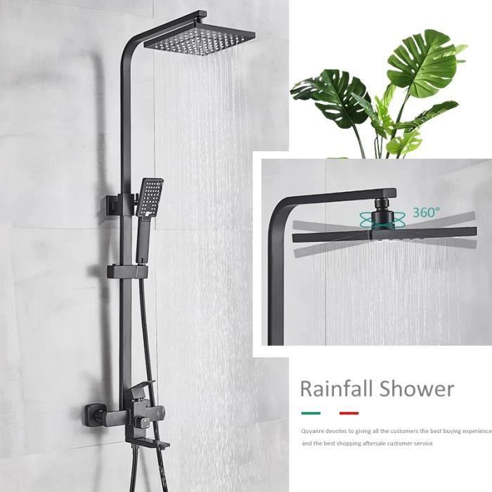 Robinet de douche de salle de bain noir mat baignoire mitigeur de douche mitigeur de douche robinet de douche ensemble de douche mél