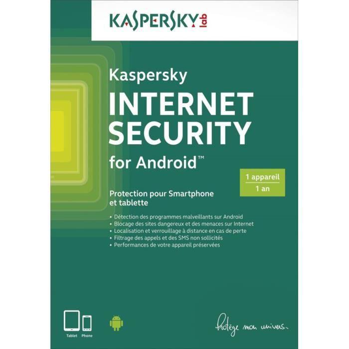 "Antivirus Kaspersky Internet Security Android 1 Poste 1 An ""Version dématérialisée"""