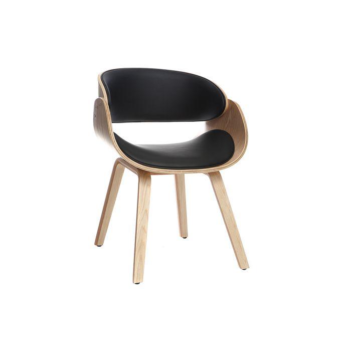 Miliboo - Chaise design noir et bois clair BENT