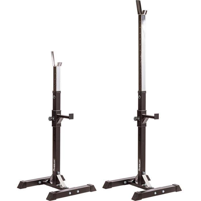 MOVIT Rack à Squat, ensemble de 2 supports d'haltères réglable, supports pour haltères de muscu, Home-Gym, couleur noir