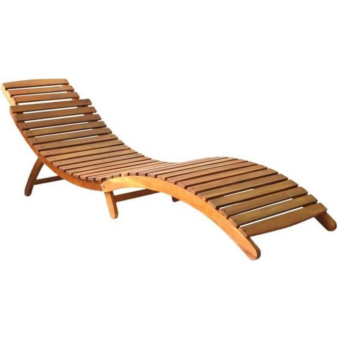 Chaise Longue de Jardin,Chaise Longue pliante,Bain de Soleil Transat Bois d'acacia solide Marron