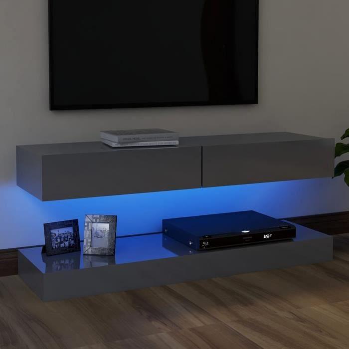8279lOVE® Meuble TV Vintage Design-Armoire TV avec lumières LED,Banc TV,Table Salon Gris brillant 120x35 cm