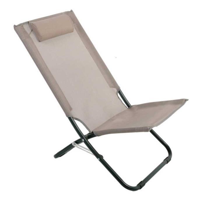 Lot de 2 Chaises relax + appui tête en texaline coloris taupe - 76 X 50 X 33-74 cm