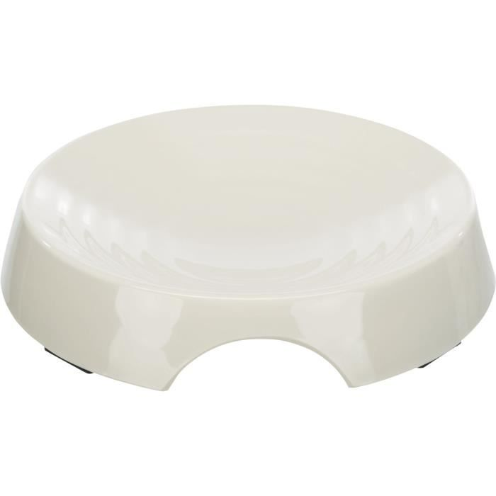TRIXIE Gamelle plate en mélamine - 0,25 l - Ø 17 cm - Blanc - Pour chien