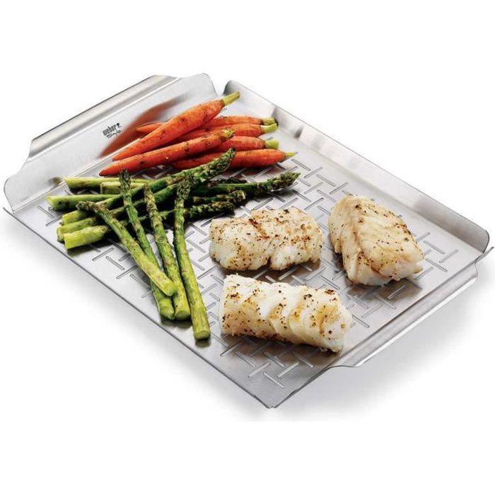 WEBER Plat de cuisson Deluxe rectangle - Acier inoxydable