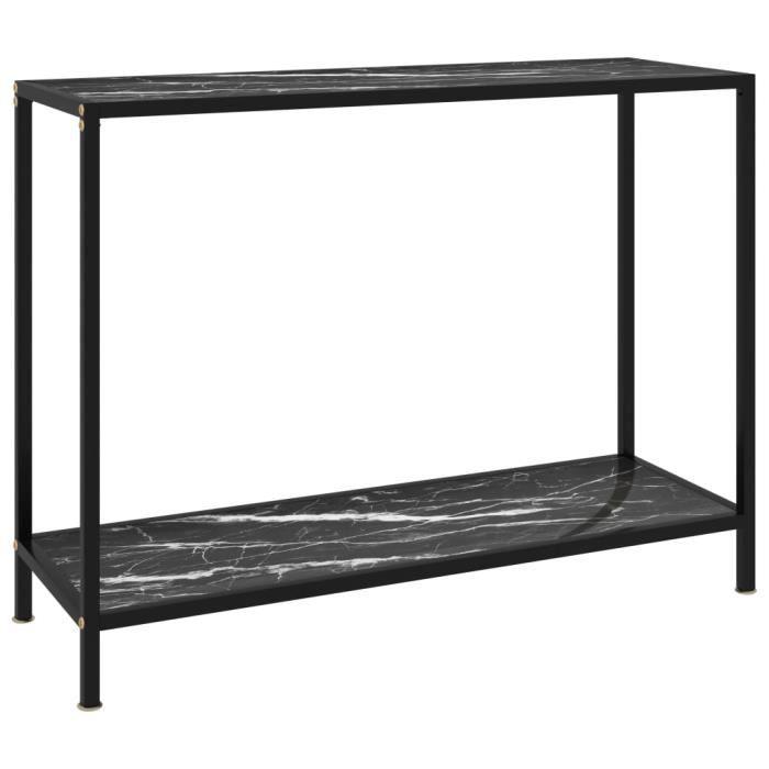 Zhihushop - Table console Noir 100x35x75 cm Verre trempé - 64899