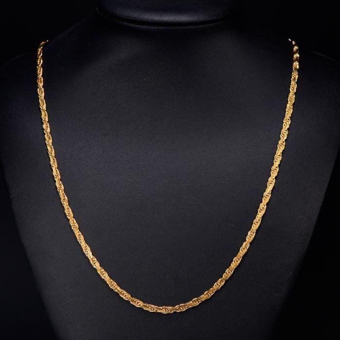 CHAINE DE COU SEULE ollier corde plaqué or jaune 18 carats Femme homme
