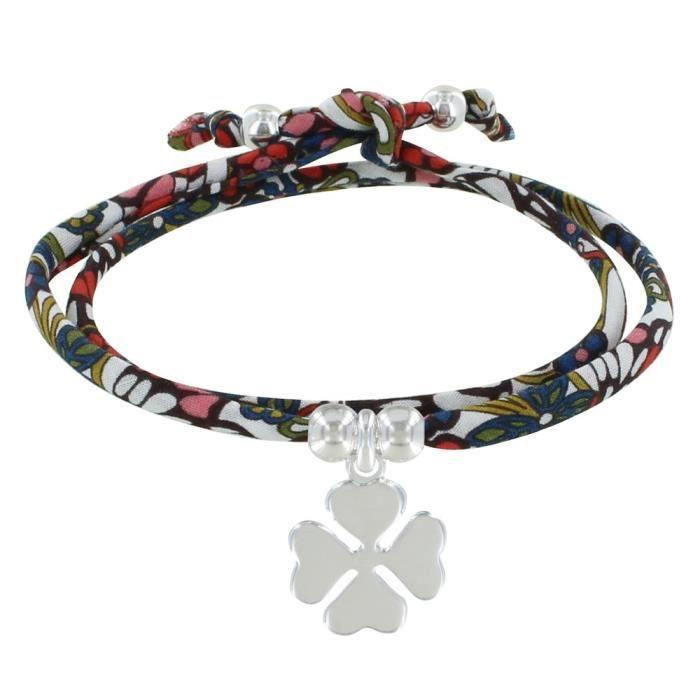 Classics Les Poulettes Bijoux Bracelet Double Tour Lien Liberty et Tr/èfle Argent