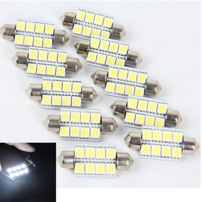 lumi re int rieur voiture d me festoon ampoules led lampe 12v 8smd 10xpop 5050 10x achat. Black Bedroom Furniture Sets. Home Design Ideas