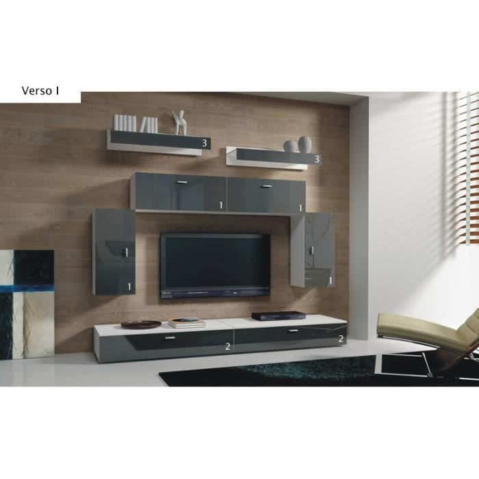 mur tv modulable ref rectoverso achat vente meuble tv mur tv modulable ref rectov cdiscount. Black Bedroom Furniture Sets. Home Design Ideas
