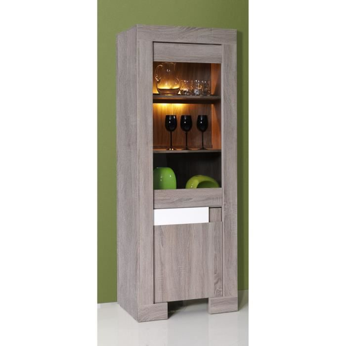 vitrine 1 porte design couleur bois et blanc laqu achat vente vitrine argentier vitrine 1. Black Bedroom Furniture Sets. Home Design Ideas