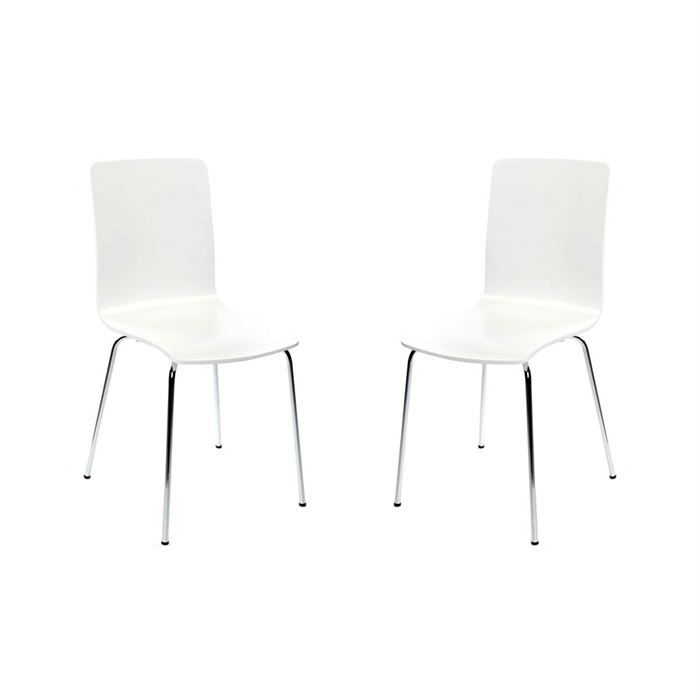 lot de 2 chaises design cuisine blanches nelly achat vente chaise acier chrom multiplis. Black Bedroom Furniture Sets. Home Design Ideas