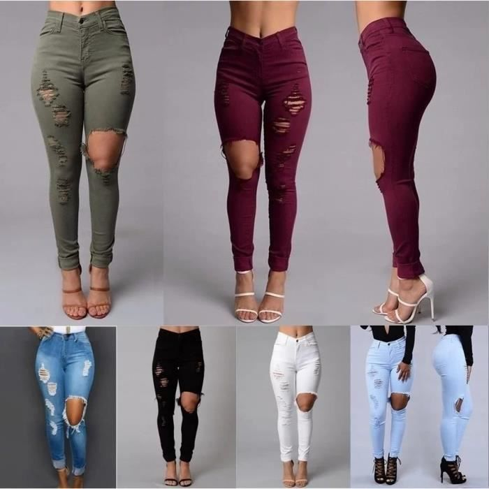 jeans femmes sexy mode pants beggar trous genou rouge blanc achat vente jeans cdiscount. Black Bedroom Furniture Sets. Home Design Ideas